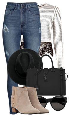 """Sem título #1503"" by beatrizvilar ❤ liked on Polyvore featuring River Island, H&M, Yves Saint Laurent and Augusta"