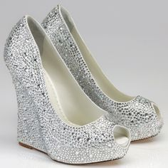 Silver Rhinestone Wedge Shoes | Above >> silver wedge bridesmaid shoes with open toe. Available at ...