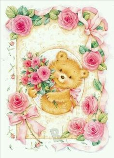 Flowers for you Cute Animal Illustration, Paper Illustration, Illustrations, Christmas Greeting Cards, Birthday Greeting Cards, Christmas Greetings, Happy Birthday Card Design, Flowers For You, Cute Teddy Bears