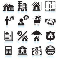 Real Estate Business black & white vector icon set vector art illustration