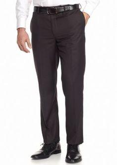 English Laundry  Charcoal Slim-Fit Flat Front Dress Pants