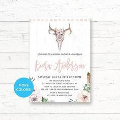 Desert Skull, Succulent, Bridal Shower, Baby Shower, Printable Invitation, Floral Desert Cactus, Boho Feathers, Custom Printable Invite by CrissyDesignCo