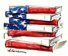 American Flag books illustration