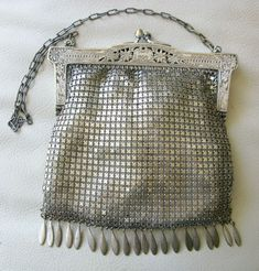 Art Deco Antique Art Deco Two Tone Silver Frame 20 Brass Ball Drop Tassel Mesh Purse