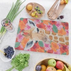 Giraffe painting, Colorful wall art, Animal art Cutting Board by The Artistic Animals - Rectangle