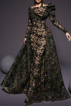 Fouad Sarkis Couture Black Lace Off Shoulder Long Sleeve A Line Gown | Poshare Evening Dresses, Prom Dresses, Formal Dresses, Long Dresses, Pretty Dresses, High Fashion Dresses, A Line Gown, Long Black Lace Dress, Floral Maxi Dress