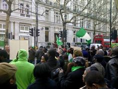 Photos: Nigerians In UK Storms High Commission Demands Presidents Whereabout
