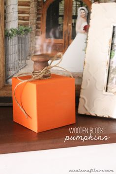 These Wooden Block Pumpkins have a vintage farmhouse feel and will spruce up any space this fall!