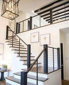 This home has so much of my dream house qualities! Steep roof pitches large LAR Modern Staircase Dream Home House LAR LARGE pitches qualities roof Steep Staircase Railings, Staircase Design, Railing Design, Staircase Ideas, Banisters, Modern Stair Railing, Staircases, Stair Case Railing Ideas, Glass Stair Railing