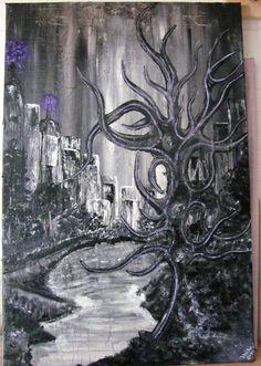 """Acrylbild """"Skyline"""" schwarz/weiß - Unikat von BRIsaRt13 auf Etsy Skyline, Painting, Etsy, Art, Saving Money Jars, Monochrome, Abstract, Repurpose, Gifts"""