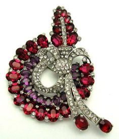 1930s-MAZER-Red-and-Purple-Crystal-Rhinestones-Pave-Rhodium-Bow-Brooch-Pin