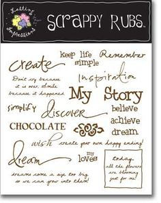 Inspire - Brown Scrappy Rubs. Rub these adorable sketches on any project. Including paper, walls and plastic. Size 5 x 5.