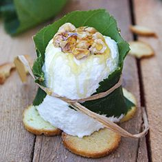 Fairy-tale Cheese calls for chestnut honey and chestnut leaves but I will replace with citrus honey and orange leaves as I have this available.