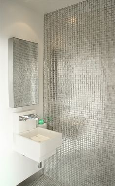Silver Tile Design, Pictures, Remodel, Decor and Ideas Silver Bathroom, Bathroom Wall, Bathroom Ideas, Mosaic Bathroom, Bathroom Stuff, Downstairs Bathroom, Mosaic Wall, Bathroom Designs, Bad Inspiration