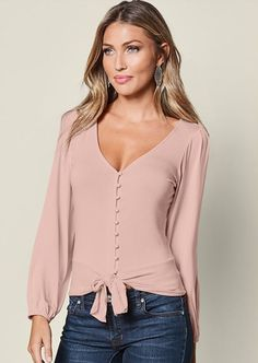 Versatile and on trend. Shop our Tie Front Button Up Top.