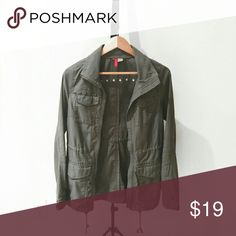 Divided Olive Utility Jacket with Brass Hardware Jacket with an adjustable inner tie and brass studded detailing. Worn only twice, no wear/tear/stains. Divided Jackets & Coats Utility Jackets