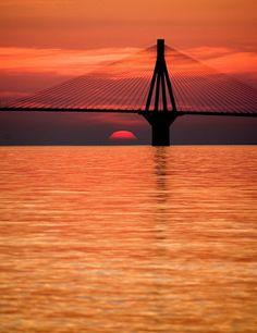 "invocado: "" The sun disappears beyond the Rio-Antirrio bridge Orange You Glad, Nature Animals, Golden Gate Bridge, Rio, Greece, Sunrise, Shades, Landscape, Counting"