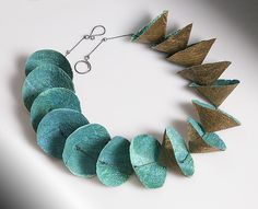 Joomchi+Cones by Nancy+Raasch: Silver+&+Paper+Necklace available at www.artfulhome.com