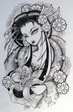 Love, love this geisha girl!    But I can't decide if I want this or the tribal as my half sleeve tat...opinions?
