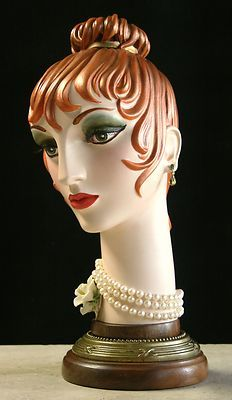 French Art Deco Mannequin Face or Bust C 1930's Hand Painted Flapper Girl | eBay