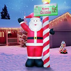 13 Foot Tall Lawn Christmas Decorations  Holidayana Candy Cane Santa Christmas Decorations for Outside *** Check out this great product.