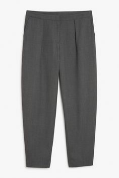 Pleated dress trousers that are nice n' wide through the thighs and come to a slight taper. colour: dark grey In a the waist width is cm. Dress Trousers, Like A Boss, Monki, World Of Fashion, Thighs, Pajama Pants, Sweatpants, My Style, Dark Grey