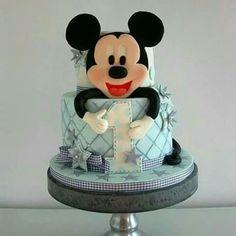 Soft blue and grey Mickey Mouse cake Gateau Theme Mickey, Mickey Mouse Torte, Minni Mouse Cake, Mickey And Minnie Cake, Bolo Mickey, Mickey Cakes, Gorgeous Cakes, Amazing Cakes, Fondant Cakes