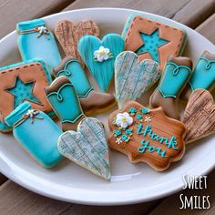 Rustic Thank You Cookies - with mason jars, cowboy boots, punched leather stars, reclaimed wood hearts, wood grain effect...