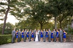 Royal blue bridesmaid dresses, grey suit, wedding party, pink calla lily bouquet, Blue Hill Country Club Wedding Boston  #aubreygreenephoto