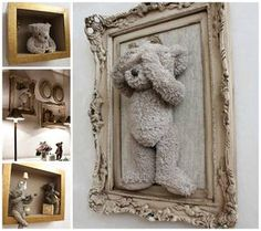 HOW TO FRAME TEDDY BEARS...that were yours when you were little for your new babies bedroom! ..so cute!