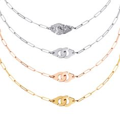 Menottes dinh van necklaces yellow gold (size : R8, R10, R12, R15), pink gold (size : R8, R10), white gold (size : R8, R10, R12, R15), white gold diamonds (size : R8, R10, R12, R15). #dinhvan #jewels #jewelry #necklace #gold #diamonds