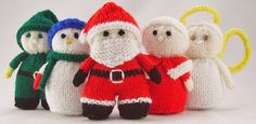Mini Christmas Characters. Santa, Mrs Santa, Snowman, Angel, Elf by Knitting by Post on Ravelry | Knits for Christmas