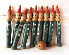 French Vintage Bowling of 9 Large Skittles Blue by LaLoupiote, $160.00