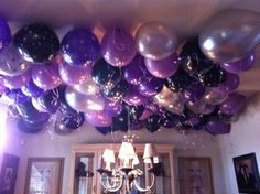 Ceiling Decor With Balloons Purple Party Decorations Masquerade Birthday
