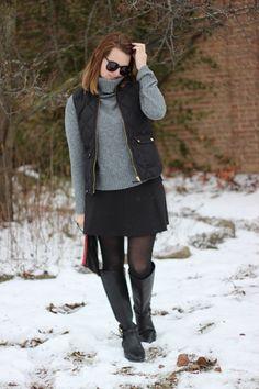 J.Crew Excursion Quilted Down vest in Black, Tory Burch Amanda Riding Boots in black, Karen Walker Super Duper Strength Sunglasses