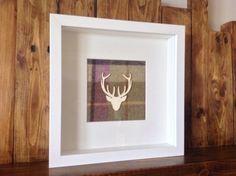 Stag Head Picture Moon Gargrave Lilac Tartan Fabric Antler Wedding ANTA Style in Home, Furniture & DIY, Home Decor, Wall Hangings Antler Wedding, Stag Head, Lilac Grey, Tartan Fabric, Box Art, Wall Hangings, Antlers, Shadow Box, Guest Room