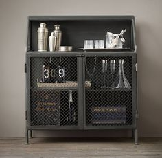 VINTAGE FRENCH FACTORY BAR CART $1195 A steel desk used in an early-20th-century French factory inspired our bar cart, from its screen doors...