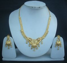 Necklace Earrings South Indian Fashion Jewelry genuine 1Gm Gold Plated Set hg45 #Indian