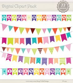 87 elements Flags set Digital ClipArt  Happy от SollaDesign, $6.50