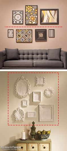 Frame Hanging Tips: If you have a generous amount of horizontal wall space, draw an imaginary line on your wall and place artwork above and below the line. If you want to fill vertical wall space, create a square or rectangle on your wall with painter's tape and loosely arrange your pieces inside. by Hercio Dias