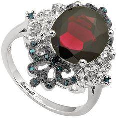 5.38 Carat Genuine Garnet & Blue Diamonds Ring