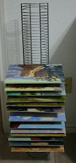Ingenious use for those old unused cd racks you have bumming around the house. Use them to dry your paintings or other art projects on.