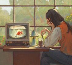 Fishbowl, Painting, Art, Illustrations, Round Fish Tank, Art Background, Fish Bowl Vases, Painting Art, Kunst