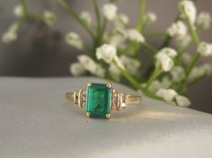 Emerald Cut Emerald Ring With Diamond Accents  $179.00