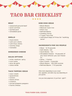 Taco Bar Checklist + How to Plan A Taco Bar Party Planning a taco bar for graduation parties and get togethers is a fun and economical way to serve your guests. Here's my taco bar checklist! Party Dips, Ideas Party, Nacho Bar, Taco Bar Buffet, Taco Bar Menu, Taco Bar Catering, Taco Salad Bar, Catering Display, Snacks