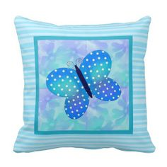 Blue: Spring Butterfly Throw Pillow