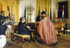 Nixon accompanying Pearl Bailey.  President Richard Nixon will be remembered for sizzling crowds as he communicated love and affection to his dear wife Pat Nixon. He took to a piano seat and played away to commemorate his wife's birthday.   Nixon loved the piano since childhood and he celebrated this love through his performances as president.   #WestMusic #InspireMyClass