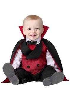 You will have the cutest little blood sucker out there when he wears this Infant Count Dracula Costume! Best Baby Costumes, Cute Baby Halloween Costumes, Last Minute Halloween Costumes, Halloween Activities, Diy Halloween, Girls Vampire Costume, Vampire Costumes, Dracula Costume, Vest And Tie
