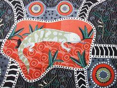 Australian Aboriginal Blue Tongue Skink by AliceInStitchesArts, $10.95