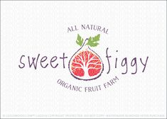 Logo for sale by Melanie D: Natural and whimsical fruit logo design featuring a stylized and conceptual design of a fig fruit. The fig logo is shaped in a clean rustic outline with a beautiful stylized tree growing from within the fig logo. The leaves of the growing tree also represent the fig seeds. Two natural bold fig leaves are added to the top of the fig logo to add a pop of green and natural look to this healthy fruit style logo.